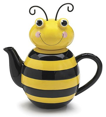 Yellow Black Honey Bumble Bee Teapot Whimsical Adorable Collectable Home Decor Accent