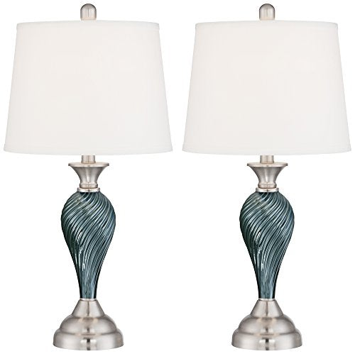 Column Style Twisted Pattern Green-Blue Glass Lamp Set Brushed Steel Finish  Home Decor Accent