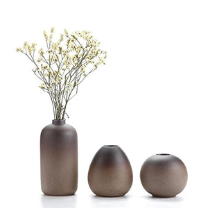 Earthen Tones Handmade Ancient Style Ceramic Vase Set 3 Accent