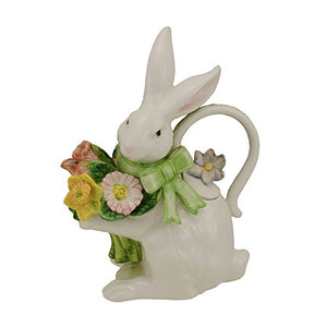 Spring Bunny Bows Teapot Character Fun Cute Flowers Home Decor Accent