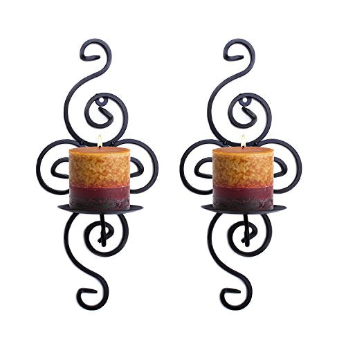 Set Black Elegant Swirling Wrought  Iron Hanging Wall Candle Holder Sconce Home Decor Accent
