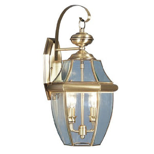 Outdoor Lighting  Monterey Antique Brass Bronze Finish Solid Wall Lamp Clear Beveled Glass Accent