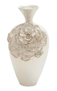 Ivory Pearl Flower Embossed Glossy Glazed Textured Ceramic Vase, Home Decor Accent