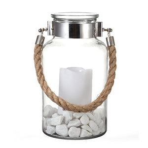 Glass Chrome Metal Lip Band Lantern Candle Holder Sturdy Jute Rope Handle White Stones Home
