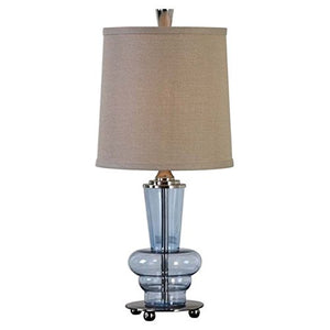 Uttermost Buffet Translucent Blue Glass Footed Base Lamp Polished Nickel Lamp Home Decor Accent