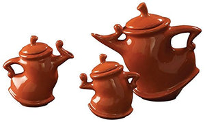Crazy Whimsical Decorative Tea Pots, Rust Orange Cut Collectable Home Decor Accent