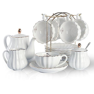 Porcelain Tea Sets British Royal Cups Saucer Teapot Sugar Bowl Cream Pure White Home Decor Accent