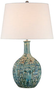 Textured Mid-Century Teal  Ceramic Gourd Table Lamp Accent Decor Home Vase