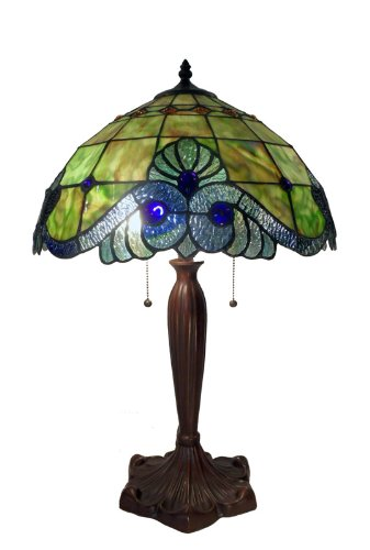 Tiffany Style Geometric Stained Glass Shade Floral Design Handmade Lamp Home Decor Accent Sale