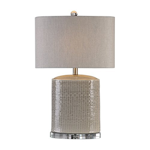 UttermostTextured Light Taupe Gray/Brushed Nickel Finish Beige Linen Fabric Shade Accent Home