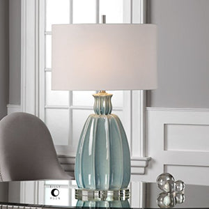 Uttermost Suzanette Crackled Sky Blue Modern Curved Ribbed Brushed Nickel Lamp Accent Home