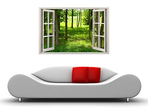 Illusion Window Wall Poster Art Large Style 85 X 115 Outdoor Forest Tress Lawn Yard 85 x 115 CM