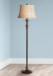 Transitional Style Column Brooke Twin Pull Chain Bronze Floor Lamp Bell Shape Shade Home Accent