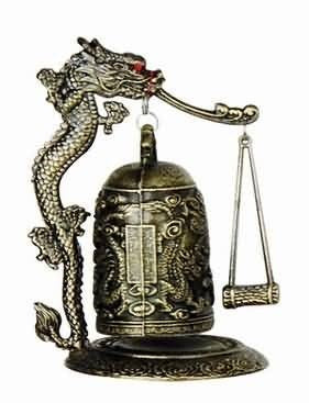 Zen Art Brass Bronze Feng Shui Desktop Dragon Wind Bell Soothing Peaceful Safe Home Decor Accent