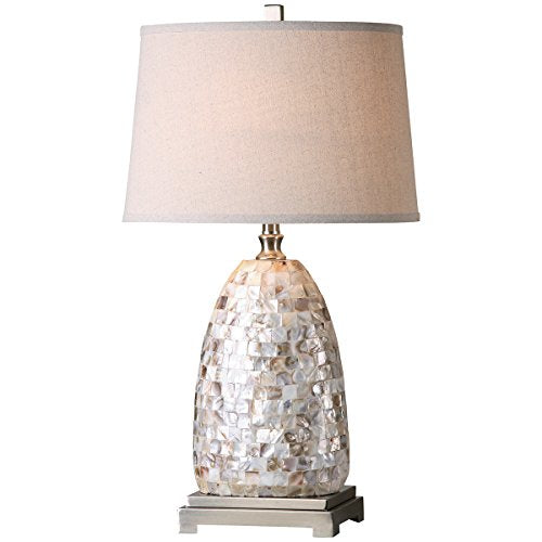 Uttermost Capurso  Shell Tiles Mosaic Metal Brushed Nickel Lamp Fabric Shade Home Decor Accent