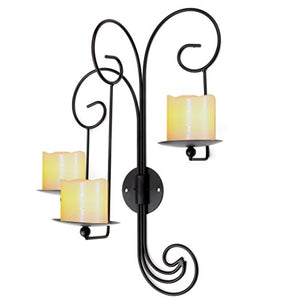 Black Scrolled Iron 3 Saucer Pillar Candle Holders Artistic Elegant Wall Sconces Home Decor Accent