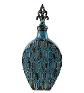 Privilege International Ceramic Lidded Vase, Large Turquoise Glossy Finish  Unique Lidded Home Accent