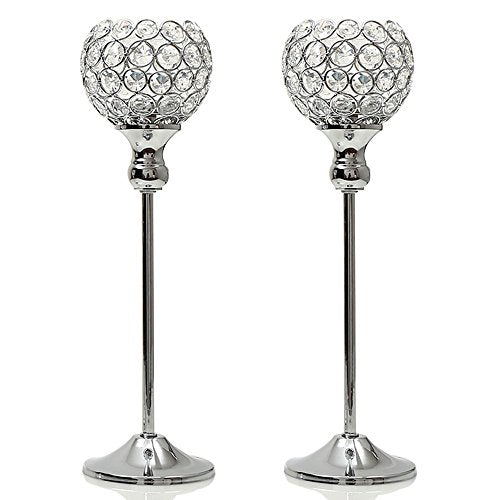 Crystal Modern Candle Holders Pillar Table Decorative Centerpiece Vases Silver Home Decor Accent