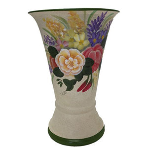 Hand Painted Floral Flower Rose Ferns Ceramic Vase Hand Crafted Home Decor Accent
