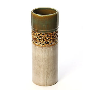 High Ceramic Earthen Tones Open Lattice Floral Vase. Home Accent