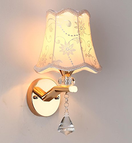 Vintage Wall Sconces Shabby Chic Elegant Traditional Wall Lamp Fabric Shade Home Decor Accent