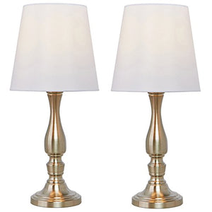 Luxurious Candle Stick Lamppost Brushed Nickel Side Table Lamp Beige Fabric Shade Home Decor Accent