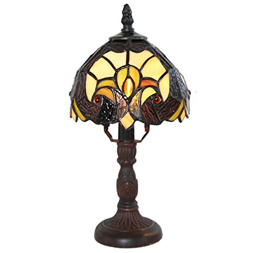 Tiffany Style Stained Glass Memory Lamp Halston Yellow Amber Glow Shade Home Decor Accent Sale