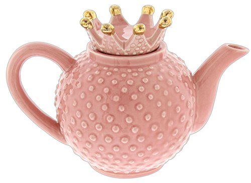 Pink Gold Trim Crown Hobnail  Princess. Ceramic Teapot Collectable Whimsical Fun Cute Home Decor Accent
