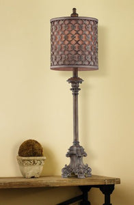 "French Tall Slender Candlestick Metal Frame Shade 34"" High Buffet Lamp Carved Swirls Accent Home"