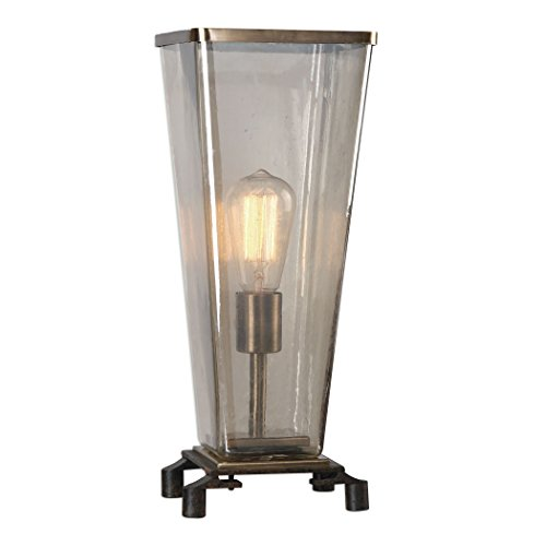 Uttermost Emidio  Accent Lamp, Dark Rust Bronze/Antique Brass Finish Amber Hurricane Glass