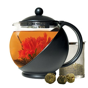 Half-Moon Flowering Tea Set Temperature Safe Glass Includes 3 Flowering Teas Home Decor Accent