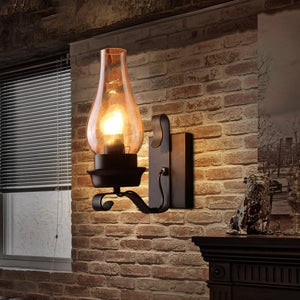 Retro Rustic Nordic Glass Wall Lamp  Wall Sconce Vintage Industrial Wall Hurricane Home Decor Accent