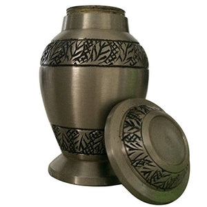 Classic Pewter Leaves Small Keepsake Urn for Ashes, Cremation Urn
