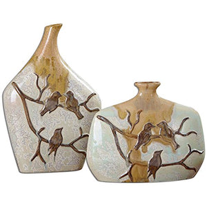 Uttermost Pajaro Aged Ivory Leaves Branches Birds Floral Ceramic Vases (Set of 2) Home Accent