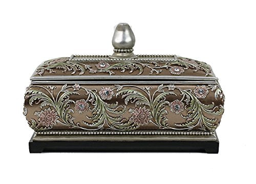 Shandra Collection Large Jewelry Trinket Keepsake Treasure Floral Design  Box Home Accent