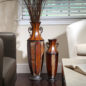 "Hosley 18"" High Iron Embossed Tall Floor Vase. Ideal Gift for Wedding, Den, Study, Family Room P9"