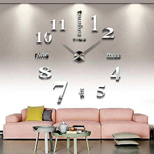 Large Silver 3D Frameless Working Wall Clock Stickers Removable Wall Art Decor Home