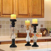 Wood  Glass Pillar Candle Holder Set  3 Black Gold elegance sophistication Home Decor Accent Gift