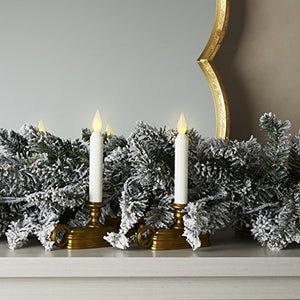 Brass Window Candles White Flameless Tapers Timer LEDs Batteries Included Bronze Tone Base Home