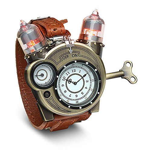 Tesla Analog Watch Think Geek Steampunk Styled Bronze Toned Accent