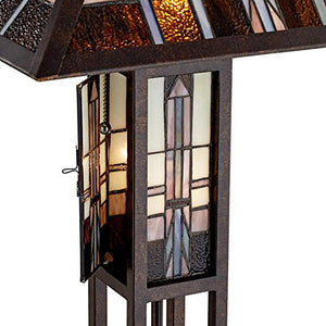 Geometric Stained Glass Art  Mission Style Body Floor Lamp Night Light Home Decor Accent