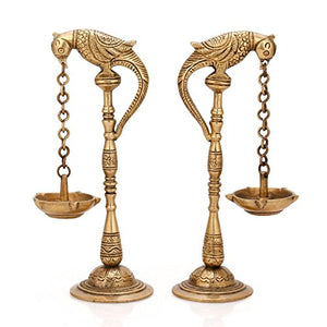 Pair Bird Diya Oil Lamp Stand Holder Brass Bronze Candle Feng Shui Scented Home Decor Accent