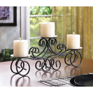 Tuscan Candle Holder Black Wrought Iron Double Scrolled Fireplace Mantle Home Accent