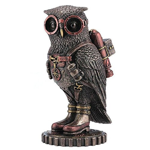 Cold Cast Bronze Steampunk Owl Jetpack Statue Fantasy Accent Home