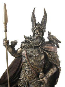 Norse God Odin Cold Cast Bronze Sculpture Figurine Fantasy Accent