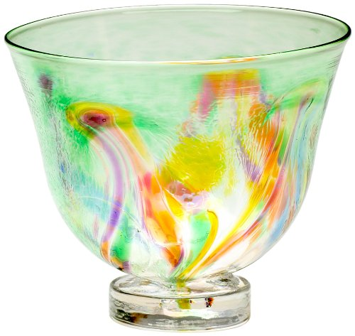 Kitras Small Art Glass Bowl Vase Art Nouveau, Unique Home Accent