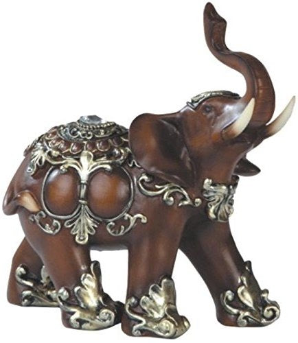 Bronz Color Elegant Elephant Trunk Statue Wealth Lucky Figurine Feng Shui  Home Decor Accent