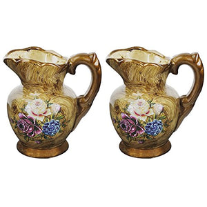 Floral Vintage Ceramic Vase Pack of 2,Creative Pot Shape Applique Flower Vase Home Accent