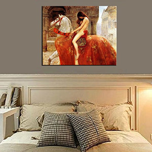 Lady Godiva Stretched Canvas Wall Ready Atr Print Painting Home Accent