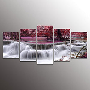 Large 5 Panels Stretched Art Canvas Print Waterfall Water Spring Modern Wall Art Home Accent